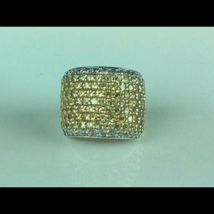 Yellow topaz sterling sterling pave' ring
